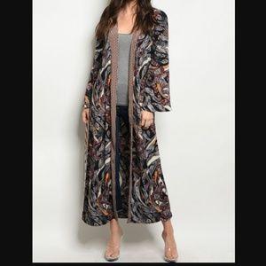 CATRINA Elegant Print Maxi Kimono MADE IN USA NWT